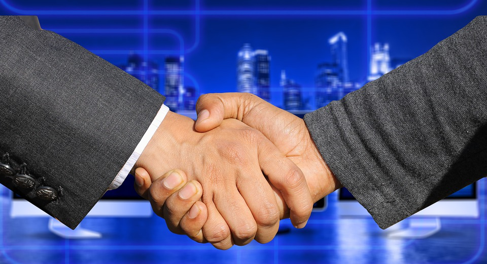 Hands, Shaking Hands, Company, Skyscrapers, Office